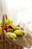 Vertikal detalj av en korg mycket av frukter på en ljus bakgrund - hög tangent arkivfoto