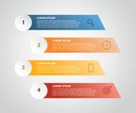 Vertikal etikett som är infographic med moment 4 med symbolen för affärsprocessen - vektorillustration vektor illustrationer