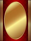 Vertikal guld- oval ram Arkivbild