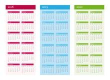 Vertikal kalender för 2018 2019 2020 år Vektor på CMYK stock illustrationer