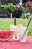 Vertikal lemonad och vattenmelon Royaltyfri Bild