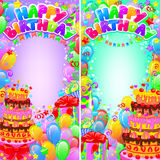 Vertikal ljus banerfödelsedag med utrymme för text Royaltyfria Bilder