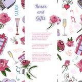 Vertikal mall med den sömlösa modellen av rosa blommor och sidor, godis, andra olika gåvor och två klistermärkear stock illustrationer