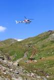 Vertikal påfyllning med flyghelikopter- och bergpanorama, Hohe Tauern fjällängar, Österrike Royaltyfri Bild