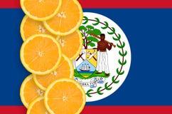 Vertikal rad för Belize flagga- och citrusfruktskivor fotografering för bildbyråer