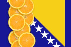 Vertikal rad för Bosnien och Hercegovina flagga- och citrusfruktskivor royaltyfria foton