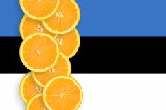 Vertikal rad för Estland flagga- och citrusfruktskivor royaltyfri bild