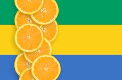 Vertikal rad för Gabon flagga- och citrusfruktskivor royaltyfri foto