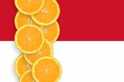 Vertikal rad för Monaco flagga- och citrusfruktskivor royaltyfria bilder