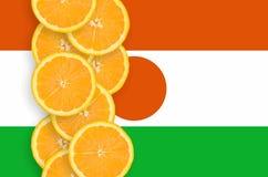 Vertikal rad för Niger flagga- och citrusfruktskivor arkivbilder