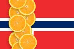 Vertikal rad för Norge flagga- och citrusfruktskivor arkivfoto