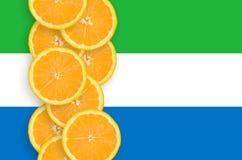 Vertikal rad för Sierra Leone flagga- och citrusfruktskivor arkivfoto