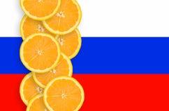 Vertikal rad för Slovenien flagga- och citrusfruktskivor fotografering för bildbyråer
