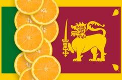 Vertikal rad för Sri Lanka flagga- och citrusfruktskivor arkivfoton
