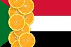 Vertikal rad för Sudan flagga- och citrusfruktskivor royaltyfria foton