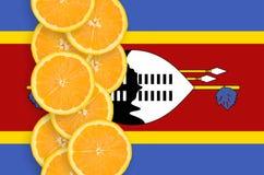 Vertikal rad för Swaziland flagga- och citrusfruktskivor arkivfoto