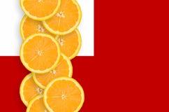 Vertikal rad för Tonga flagga- och citrusfruktskivor royaltyfria bilder