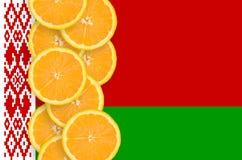 Vertikal rad för Vitryssland flagga- och citrusfruktskivor royaltyfria bilder