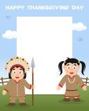 Vertikal ram för tacksägelsedag - indier Royaltyfri Fotografi