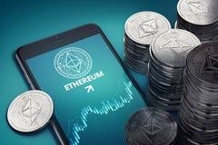 Vertikal smartphone med på-skärmen för Ethereum tillväxtdiagram bland högar av eter stock illustrationer