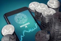 Vertikal smartphone med på-skärmen för Monero tillväxtdiagram bland högar av silverMonero mynt royaltyfri illustrationer
