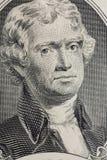 Vertikal stående av framsidan för Thomas Jefferson ` s på dollarräkningen för USA 2 Skjuten makro Fotografering för Bildbyråer