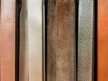 Vertikal textur för läderbälten Arkivfoton