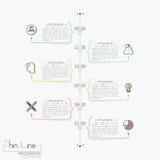 Vertikal timeline med tidindikering, pictograms och textaskar royaltyfri illustrationer
