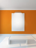 vertikal vägg för orange affisch Arkivbild