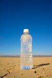 Vertikal vattenflaska i öken Arkivfoto