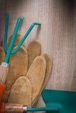 Vertikal version av funktionsdugliga handskar för läder som arbeta i trädgården skyffeln och Royaltyfria Foton