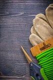 Vertikal version av skyddande handskar för trädgårds- sekatörbandtråd Royaltyfria Bilder