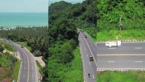 Vertikal video för sociala massmediaapplikationer på mobila enheter Flyg- sikt av transport som fortskrider vägen på tropiskt lager videofilmer