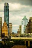 Vertikala Austin Skyline Capitol Building av Texas Arkivfoto