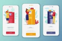 Vertikala baner för ATM-betalningfolk vektor illustrationer