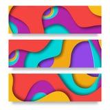 Vertikala baner med bakgrund för abstrakt begrepp 3D med papperssnittet formar Vektordesignorientering för affärspresentationer Arkivbild
