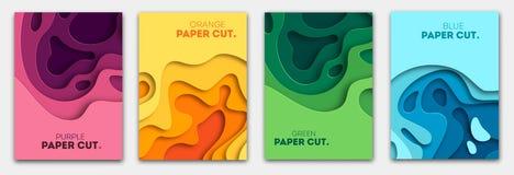Vertikala baner ställer in med bakgrund för abstrakt begrepp 3D, och papperssnittet formar Vektordesignorientering för affärspres vektor illustrationer