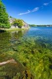 Vertikale Ansicht für schwedisches Seeufer Stockbilder