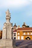 Vertikale Ansicht von Aduana-Piazza in Cartagena, Kolumbien Stockfoto