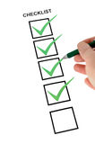 Vertikale Checkliste Stockbild