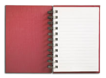 Vertikale einzelne weiße Seite des roten Notizbuches Stockbild
