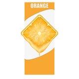 Vertikale Fahne der orange quadratischen Scheibe Raum für Stockbilder