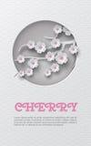 Vertikale Fahne des orientalischen Musters mit herausgeschnitten ringsum Rahmen und Blumenhintergrund mit weiß-rosa Kirsche blüht Lizenzfreie Stockfotografie