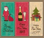 Vertikale Fahne Frohe Weihnachten und ein glückliches neues Jahr Sankt, Champagner, Weihnachtsbaum, Geschenke Stockbilder