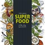 Vertikale Fahne mit farbenreichem realistischem superfood lizenzfreie abbildung