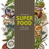 Vertikale Fahne mit farbenreichem realistischem superfood s stock abbildung