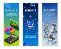 Vertikale Fahnen der Wissenschaft eingestellt stock abbildung