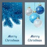Vertikale Fahnenschablone des Feiertags mit Weihnachten Stockbild