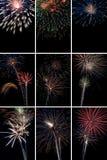 Vertikale Feuerwerks-Collage Stockfoto