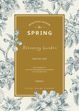 Vertikale Frühlingskarte der Weinlese Stockfotos